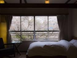 【客室:木蓮】ベッドのなかからも桜がお目見え。朝の目覚めから春を感じる光景です。