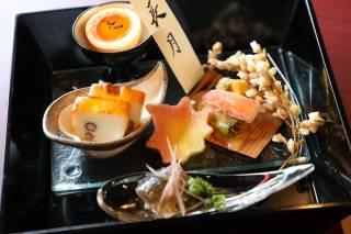 (一例)前菜:栗と無花果の蒸し焼き、秋刀魚の叩き、零余子真薯、お月見玉子
